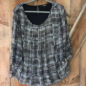 Roz & Ali scoop neck blouse plus size